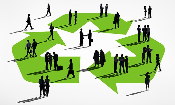 Advantages of Recycling, Business people working together