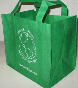 Sustainable living, reusable grocery bags